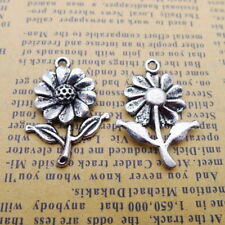 10pcs Charms a Cute Sunflower Tibetan Silver Beads Pendant DIY 20*27mm