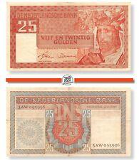 Netherlands 25 Gulden 1949 Salomo VF  RARE serial 1AK021543