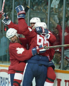 Canada Cup 1987 Winning Goal - Gretzky, Lemieux, & Messier - 8x10 Color Photo