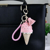 Lovely Powder White Ice Cream Cone Keychain Pendant Bag Hanging Accessory SW