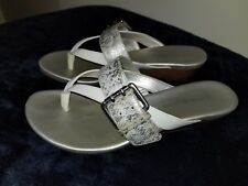 Women's Bandolino  BDBuckley Silver and White Sandals Size 8M (60166072-BS5)