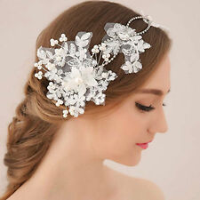 Lace Flower Ivory Pearl Bridal Hair Headband Wedding Hair Accessories Fascinator