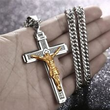 Catholic Jesus Christ on INRI Cross Crucifix stainless steel Pendant Necklace 24