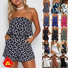 Women Summer Shorts Mini Jumpsuit Playsuit Boho Floral Beach Holiday Romper
