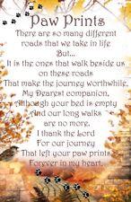 Paw prints Pet Bereavement Graveside Memorial keepsake Card Poem