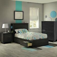4 Piece Gray Twin Size Side Storage Headboard Bed Set Home Bedroom Furniture