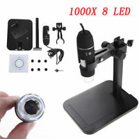 8 LED 1000x 2MP USB Digital Microscope Endoscope Magnifier Video Camera w/ Stand