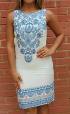 NEW LOOK WHITE & BLUE PAISLEY PATTERN SUMMER SHIFT DRESS - SIZE 6