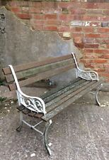 A Reclaimed Smaller 4 Feet Long Garden Bench ~ Cast Iron Ends