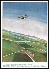 PUBBLICITA' 1932 STANAVO BENZINA PETROLIO AVIAZIONE AEREI VOLO BIPLANO R.BASSI