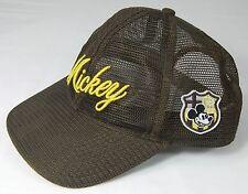 Disneyland Mickey Mouse Name Baseball Brown Cap Hat Mesh Adjustable Snap Back