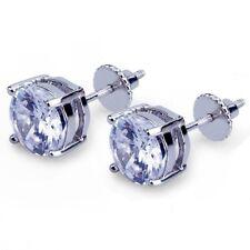 Men 14k White Gold Sterling Silver 6mm Round Diamond Screw Back Stud Earrings