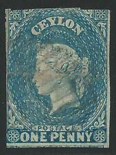 1857 Ceylan - Sg N°2 1d Turquoise Used