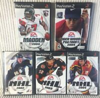 Lot Of EA Sports NHL 02/03/04 NFL Madden 04 Tiger Woods PGA Tour04 PS2 Game Pack