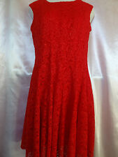 Leslie Fay Solid Red Sleeveless Flared Lace Dress Size 10