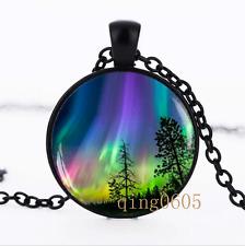 Northern light Aurora Borealis Glass Dome black Chain Pendant Necklace wholesale