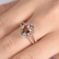 2.50Ct Oval Cut Morganite Diamond Halo Engagement Ring 14K Rose Gold Finish