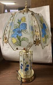 "3 Way  Brass/ Glass Blue flower  Design Touch Table Lamp 25"" Tall New 3 Bulbs"