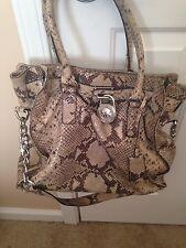 Michael Kors Large Snake Skin Handbag / Purse . Black-tan ....