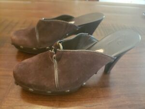 Cole Haan Mules Clogs Heels Women's SZ 9 Brown Suede Leather Slip On studded