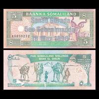 Somaliland 5 Shillings, 1996, P-14, Sanad Gurada , Camel, Silver UNC>COMM.