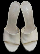 NINE WEST Off White Leather Mules Margara Sandals Architectural Heel Size 7.5