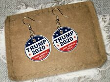 Trump 2020 President MAGA Political Dangle Earrings Jewelry 1 inch Round