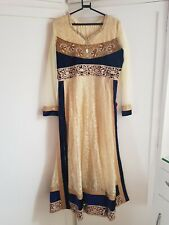 Asian Wedding Walima Party Dress Anarkali Indian Pakistani, Blue Cream Gold