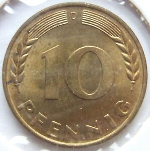 Top! 10 Pfennig 1950 D IN Uncirculated
