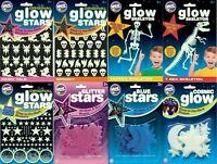 QUALITY GLOW IN THE DARK STICKERS - STARS BLUE PINK SPOOKY HALLOWEEN SKELETON