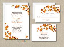 100 Personalized Custom Fall Autumn Wedding Invitations Set  with Envelopes