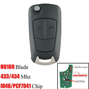 2 BUTTONS CAR FLIP REMOTE KEY FOB 433MHZ FOR VAUXHALL OPEL ASTRA H ZAFIRA B
