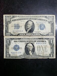 Series of 1928 A $1.00 Funnyback & a Series of 1934 $10.00 Silver Certificate