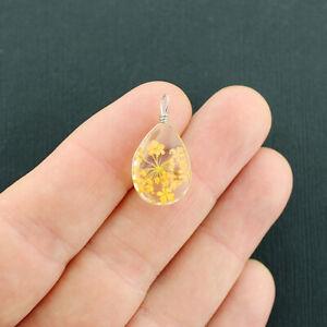 2 Wish Pendants - 3D Teardrop Glass with Dried Flower - Dandelion Yellow - Z604