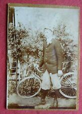 Photo ancienne d'un cycliste , ancien vélo de course,  photographie albumine