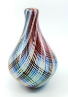 Vintage Modernist Murano Style Art Glass Vase Checkered Plaid Colorful! 11""