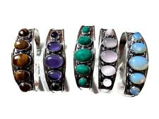 Unique 5 PCs. Tiger Eye & Opalite .925 Sterling Silver Plated Cuff Bracelet Lot