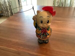 """MARX 1949 PORKY PIG THE COWBOY """"COWPUNCHER PORKY"""" Tin Litho Wind Up Toy works"""