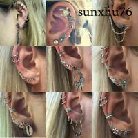 Fashion Fashion's Bohemia Silver Ear Clip Stud Dangle Earrings Set Jewelry Retro