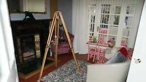 PERIOD Vintage 1950s 1960s Wood & Alloy Tripod Wooden legs (Lamp Stand Surveyors
