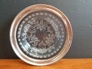 ANTIQUE HAWKES ABP STERLING SILVER INTAGLIO ENGRAVED CUT GLASS BOWL SIGNED EUC