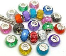 Fashion Faceted Shiny Big Hole Resin Hole Beads fit European Charm DIY Bracelet