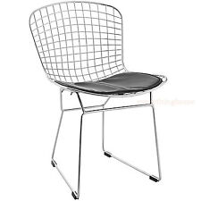 BERTOIA STYLE CHAIR DINING SIDE STEEL WIRE CHROME MESH BLACK PAD -331 LB WT RATE