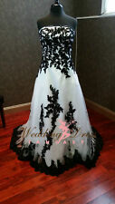 Gothic Black and White Wedding Dresses Strapless Custom Plus Size Bridal Gowns