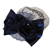 1X(Blue Flower Bow Hair Clip Snood Net Barrette Bun Cover for Lady Women M6O6)