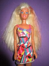 B574-rubio-rosa barbie mattel 1974 originales patrón-vestido + zapatos sin aretes