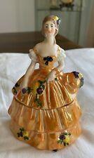 Lady floral dress figurine porcelain trinket or powder Box lusterware Germany