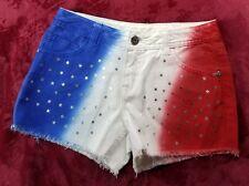 NWT Justice Girls Sz 16 USA Patriotic Red White Blue Stars Denim Cutoff Shorts