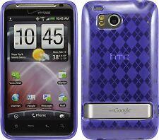 Flexible TPU Gel Case for HTC Thunderbolt - Purple Argyle