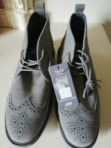 Men's M&S Real suede Gray Shoes / Boots size 7 new with tags
